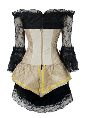 Steampunk Gothic Retro Boned Bustier Corset Top and Lace Dress