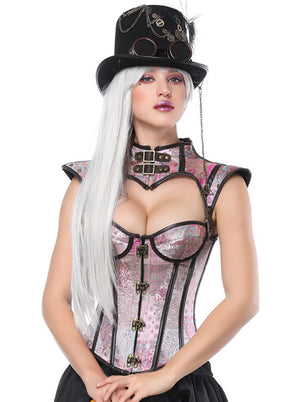 Victorian Gothic Boned Lacing Overbust Corset and Shrug Cosplay Costume