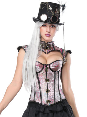 Retro Renaissance Steel Boned Lace Up Corset Bustier with High Neck Shrug