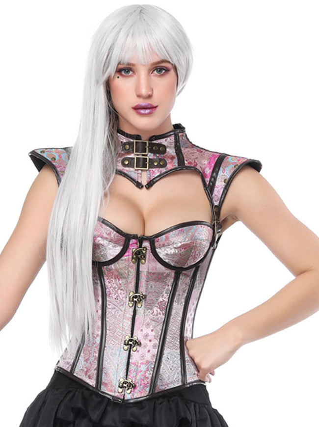 Steampunk Victorian Retro Jacquard Overbust Corset with Shrug