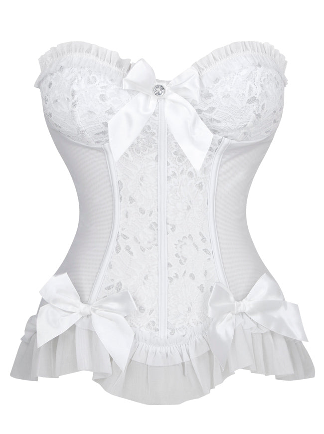 Sweetheart Floral Jacquard Wedding Bridal Corset Bustier Top