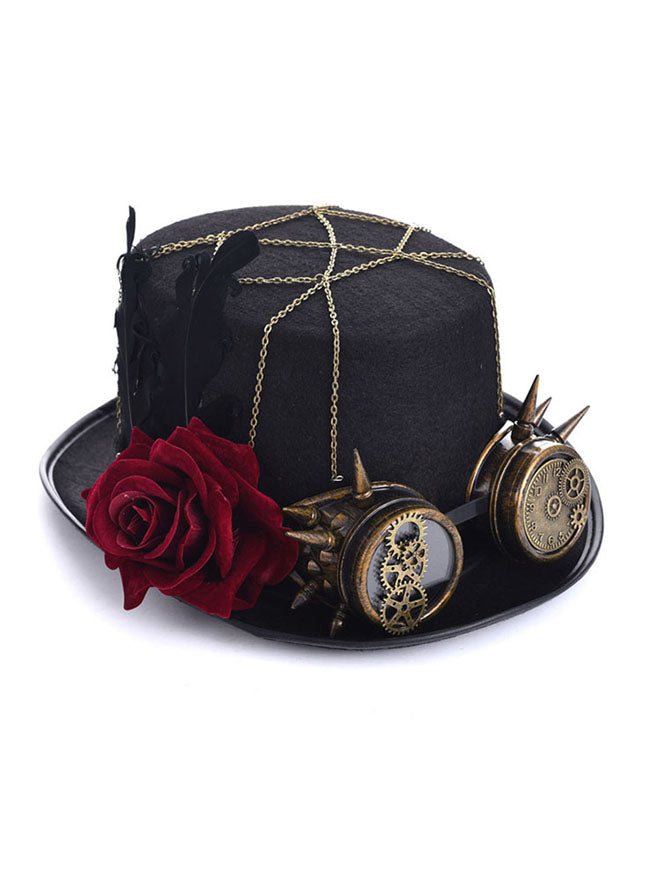 Steampunk Top Hat Rose Goggles Masquerade Costume Accessory Top Hat