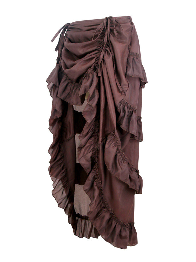 Women's Victorian Cyberpunk High Low Ruffle Party Skirt Coffee Side View