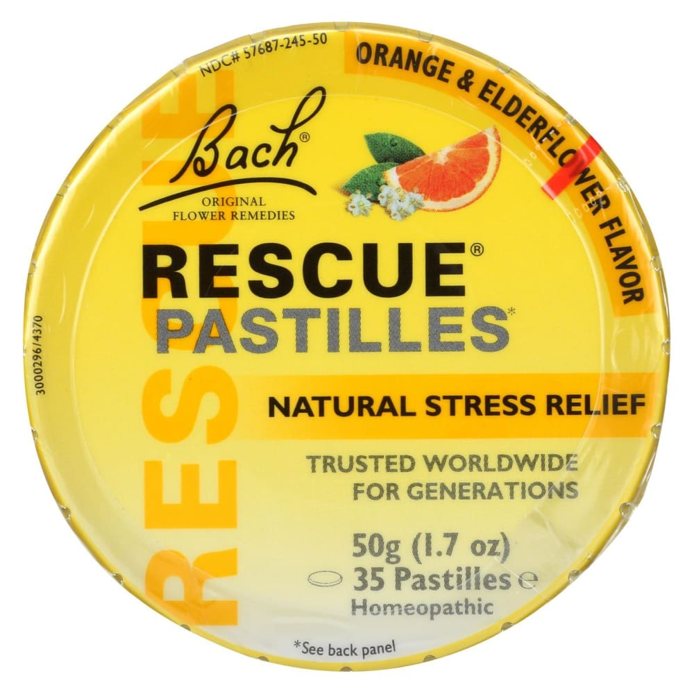 Bach Flower Remedies Rescue Remedy Pastilles Orange Elderflower - 1.7 Oz - Case Of 12 - Eco-Friendly Home & Grocery