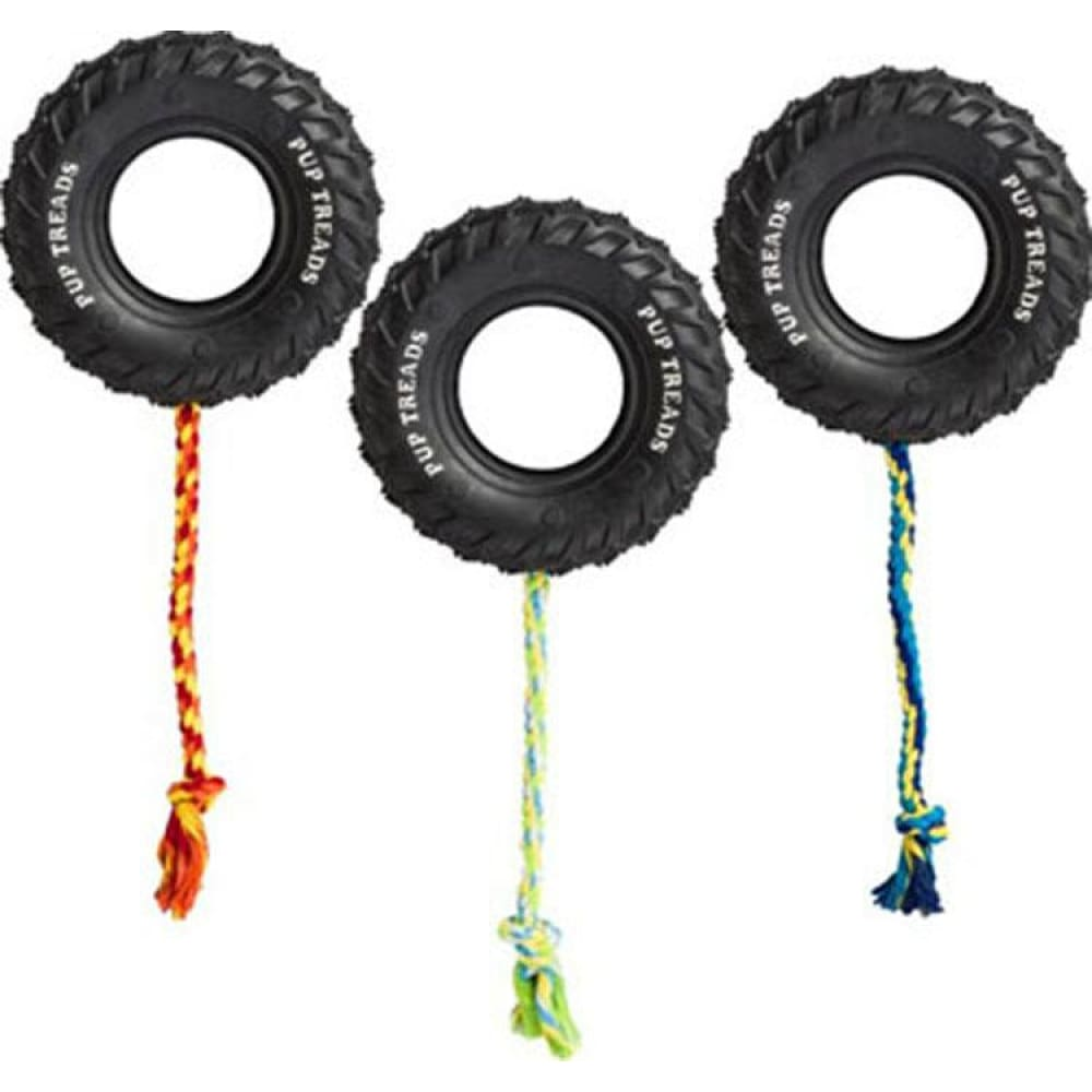 Ethical Dog - Pup Treads Rubber Tire W/rope - BLACK / 4IN - Pet