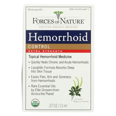 Image of Forces Of Nature Organic Hemorrhoid Control - Extra Strength - 11 Ml - Eco-Friendly Home & Grocery