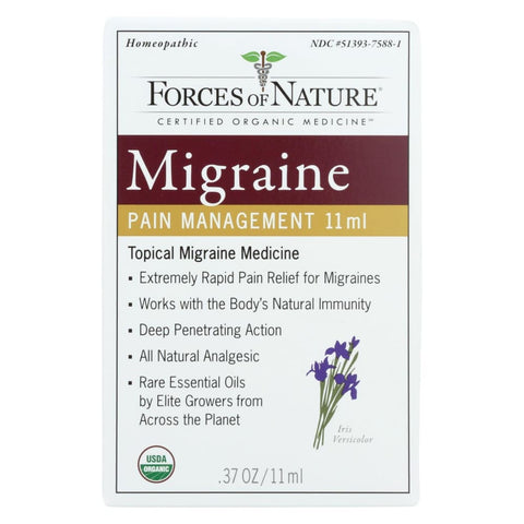 Image of Forces Of Nature Organic Migrane Pain Management - 11 Ml - Eco-Friendly Home & Grocery