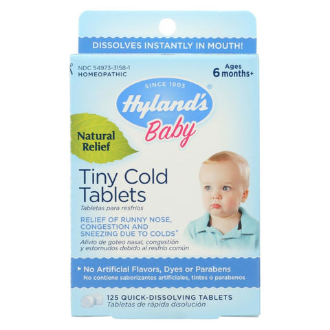 Image of Hylands Homeopathic Baby Tiny Cold Tablets - 125 Tablets - Eco-Friendly Home & Grocery