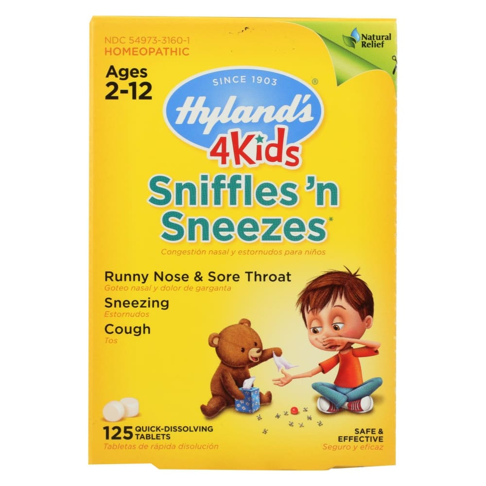 Hylands Homeopathic Sniffles n Sneezes 4 Kids - 125 Tablets - Eco-Friendly Home & Grocery