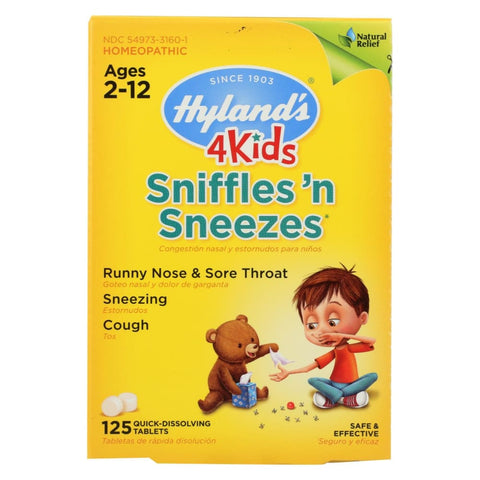 Image of Hylands Homeopathic Sniffles n Sneezes 4 Kids - 125 Tablets - Eco-Friendly Home & Grocery