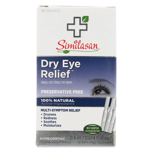 Similasan Dry Eye Relief - 20 Sterile Single-use Droppers - Eco-Friendly Home & Grocery