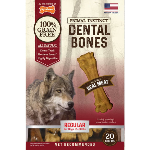 Tfh Publications/nylabone - Primal Instinct Dental Bones - MEAT / REGULAR/20 COUN - Pet