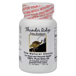 Thunder Ridge 100% Pure Emu Oil - 750 Mg - 90 Softgels - Eco-Friendly Home & Grocery