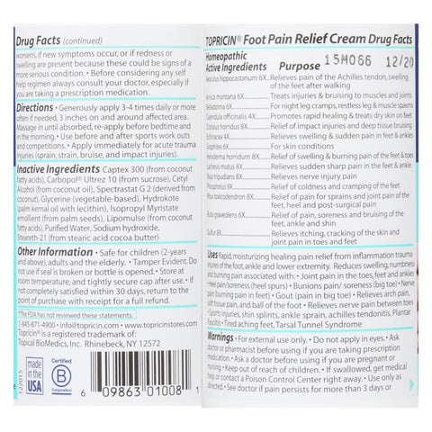 Image of Topricin Foot Therapy Cream - 8 Oz - Eco-Friendly Home & Grocery