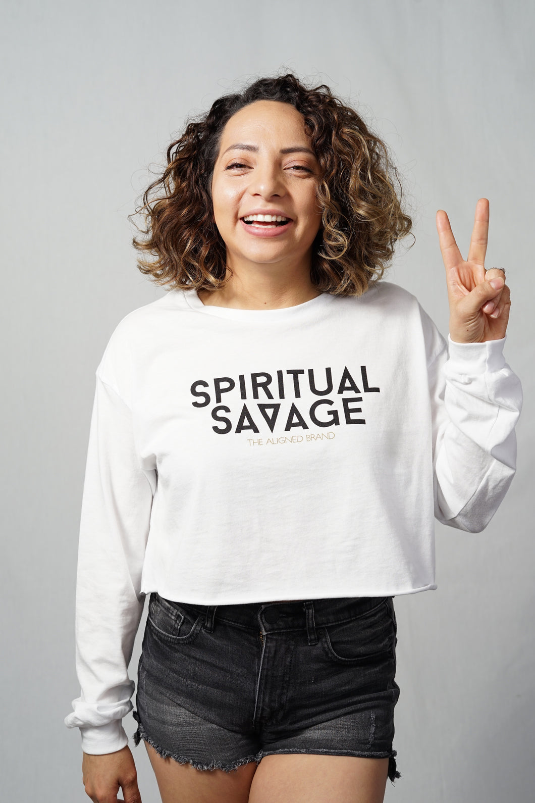 Spiritual Savage Long Sleeve Cropped Tee - The Aligned Brand