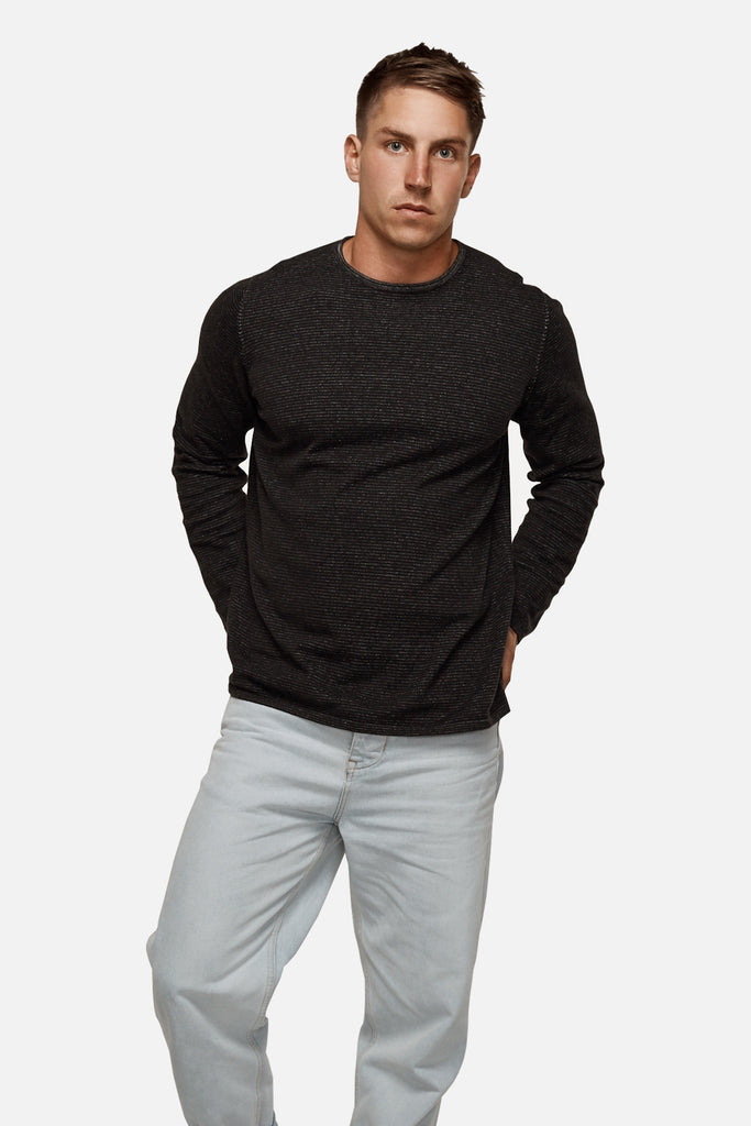 The Drake Stripe Knit - Charcoal Black