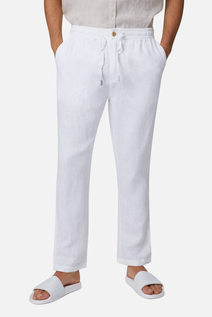 The Santorini Linen Pant - White