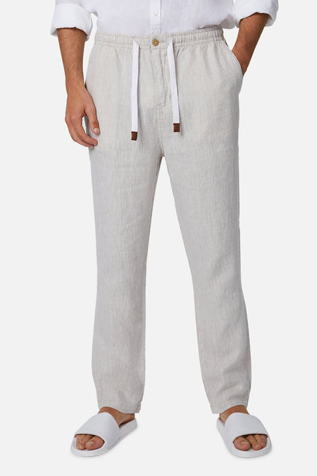 The Santorini Linen Pant - Yd Wheat