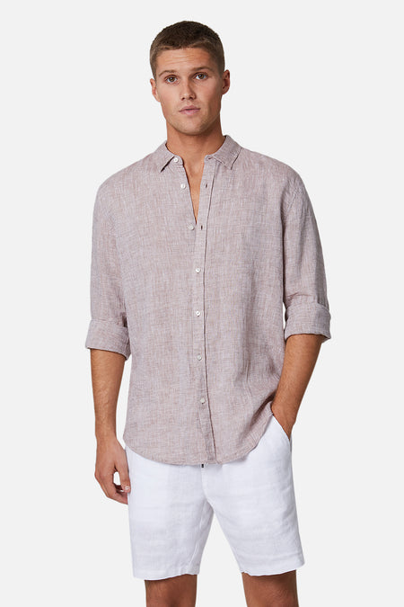 The Tennyson Linen L/S Shirt - Yd Husk