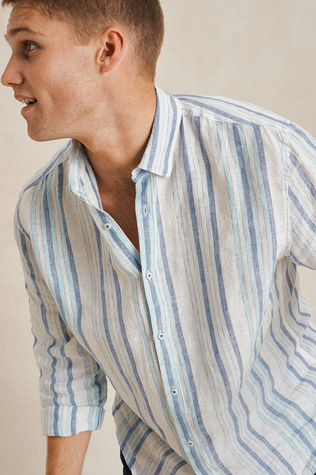 The Amalfi L/S Shirt - Marine