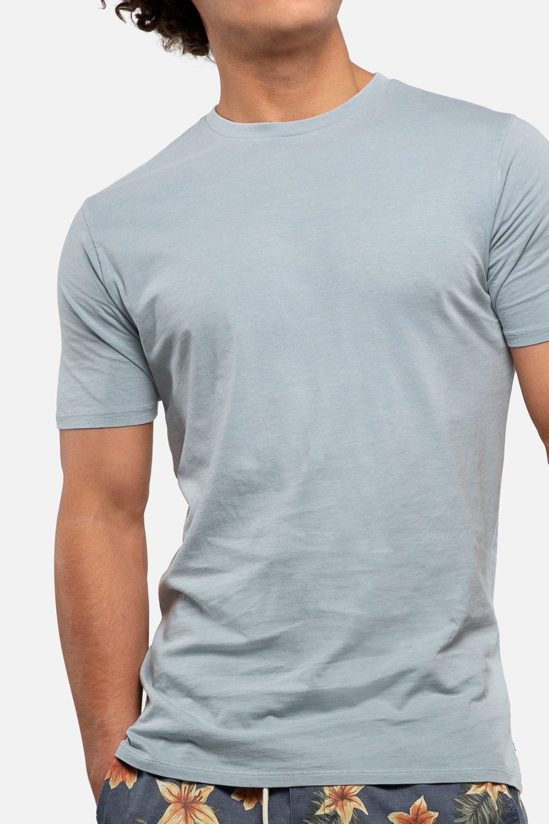 The Basic Classic Tee - Pigment Dyed Faded Blue