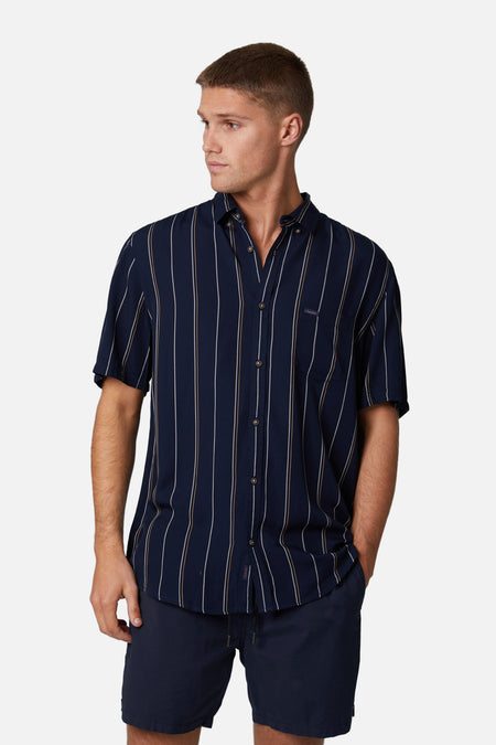 The Dardar S/S Shirt - Navy Gold