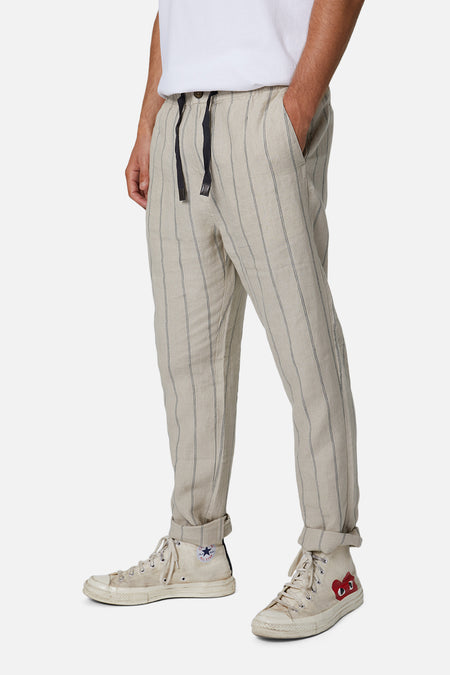The Torres Linen Pant - Wheat Charcoal
