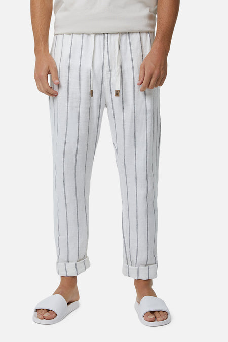 The Torres Linen Pant - Off White/ Black