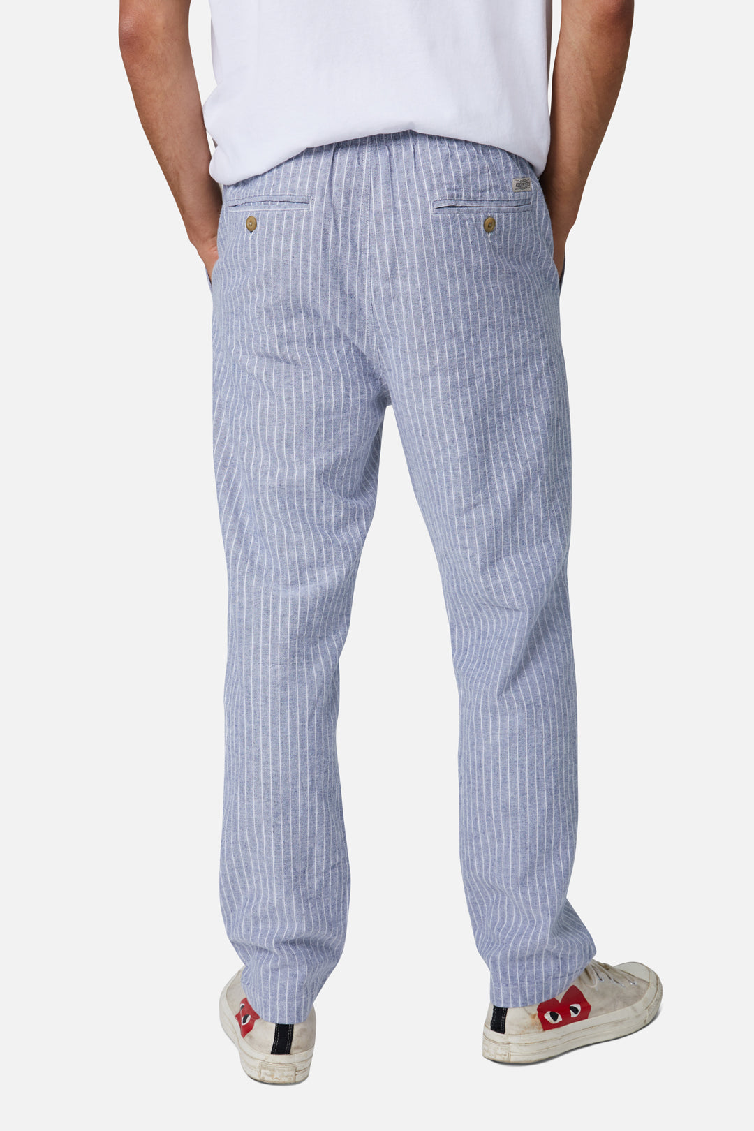 The Montesol Linen Pant - Navy White