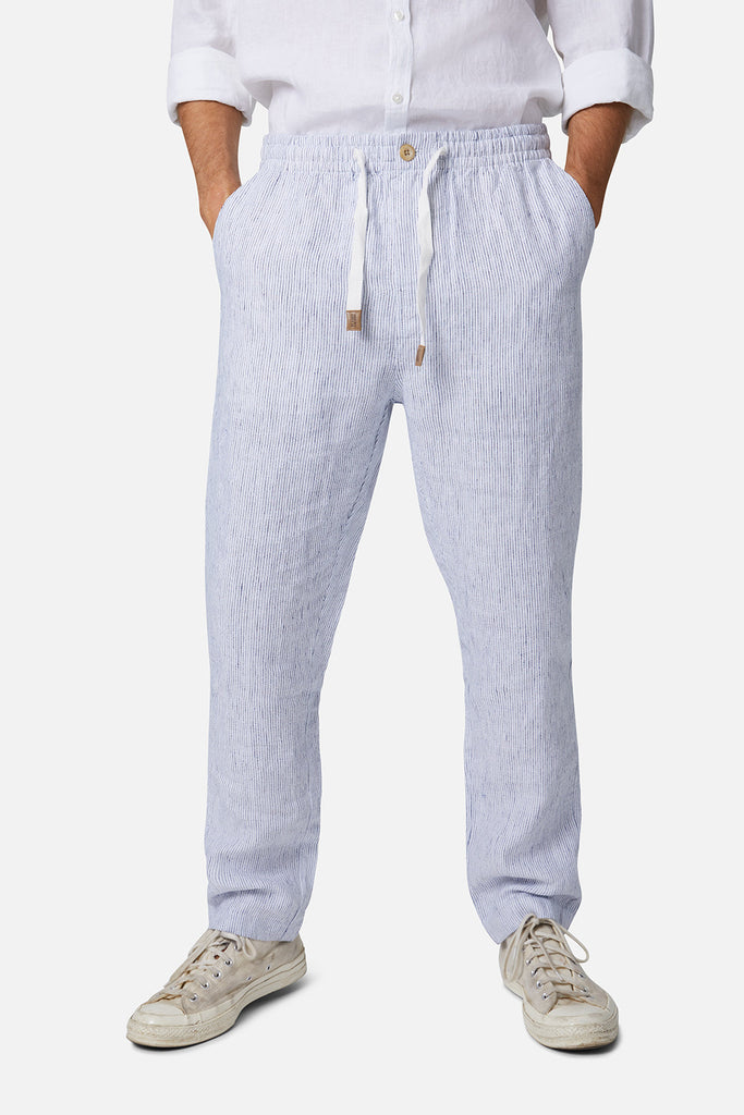 The Carrus Linen Pant - White Navy