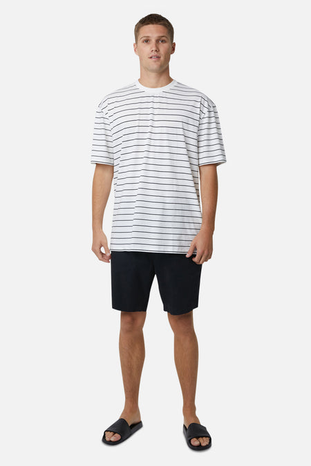 The Striped Del Sur Tee - White Black