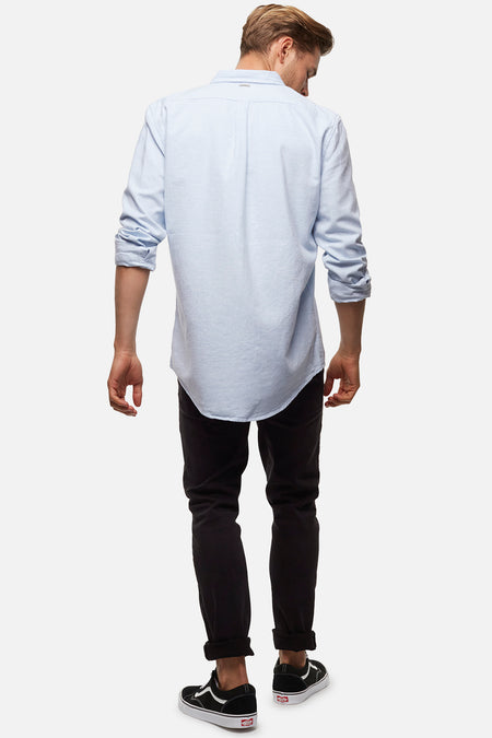 The Taylor L/S Shirt - Mid Blue Marle