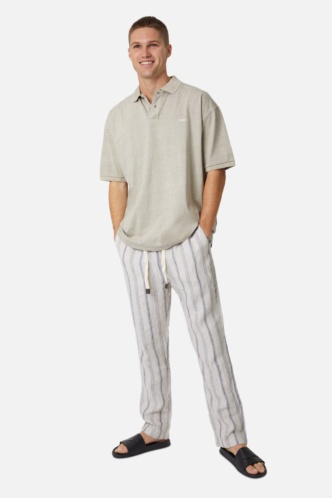 The Simi Linen Pant - Wheat Navy