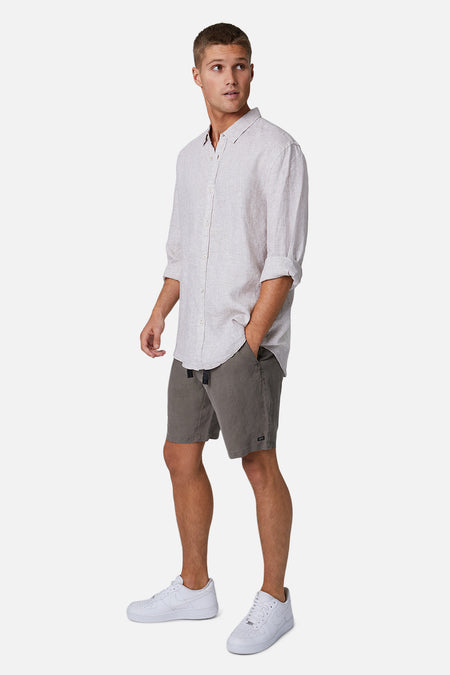 The Baller Linen Short - Dark Forest