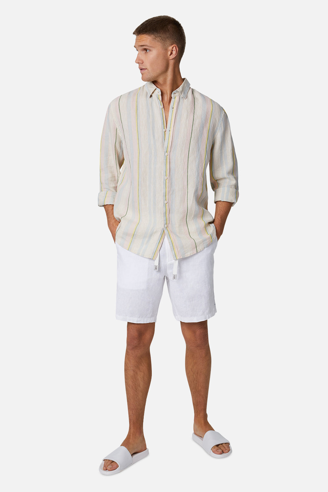 The Baller Linen Short - White