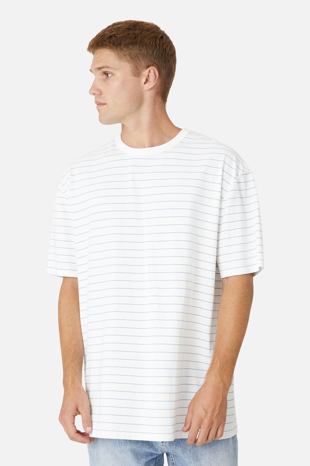 The Fine Stripe Del Sur Tee - Off White Light Blue