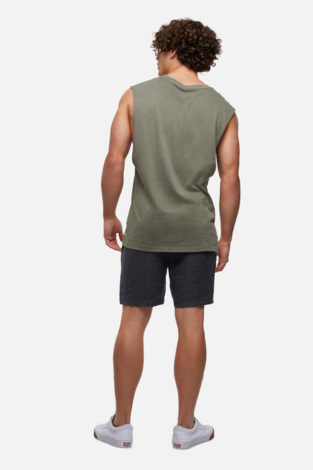 The Triple G Sleeveless Tee - Army Pigment Dyed