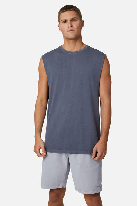 The Triple G Sleeveless Tee - Slate Pigment Dyed