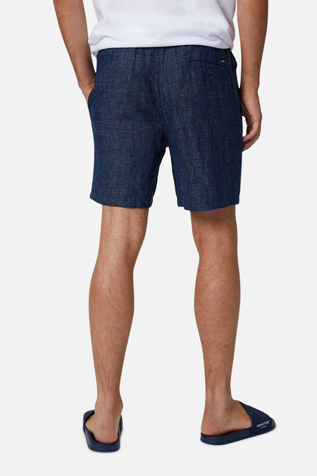 The Marina Linen Short - Sardina Blue