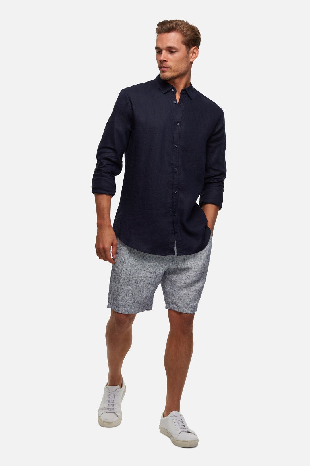 The Marina Linen Short - Salt & Pepper