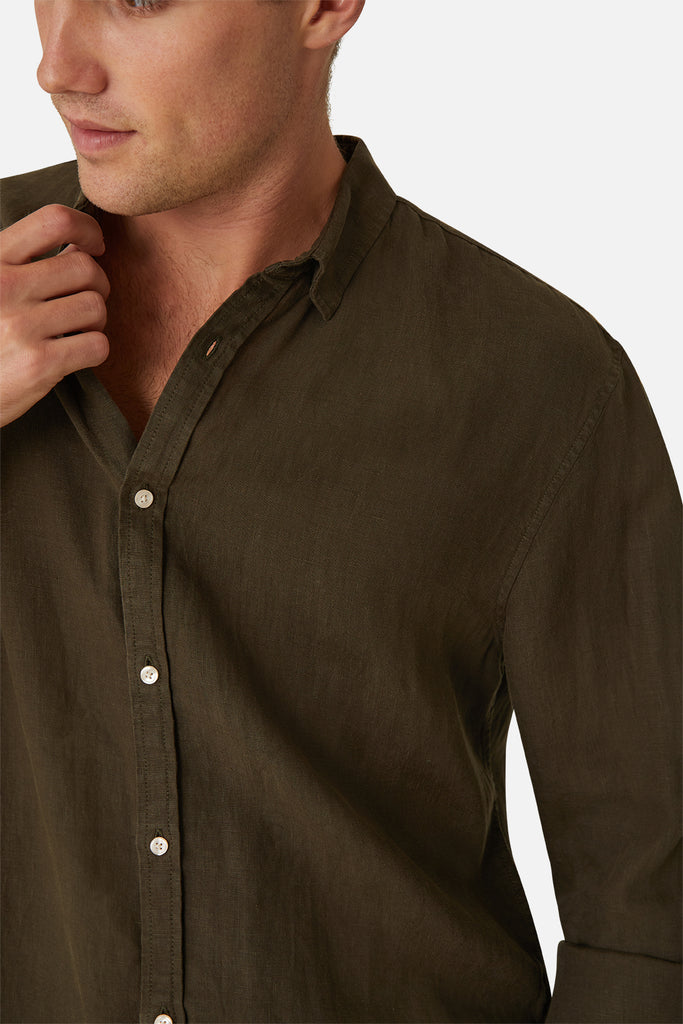 The Tennyson Linen L/S Shirt - OD Cypress