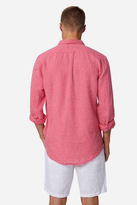 The Tennyson Linen L/S Shirt - OD Washed Red