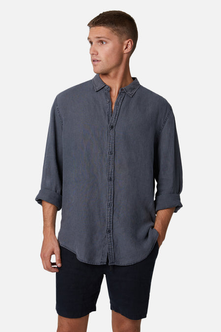 The Tennyson Linen L/S Shirt - Anthracite