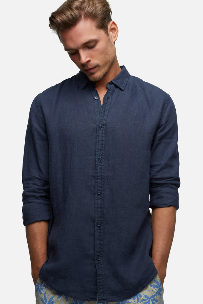 The Tennyson Linen L/S Shirt - Navy