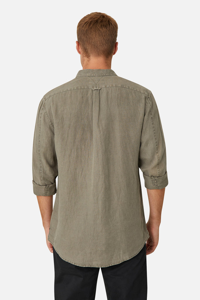 The Tennyson Linen L/S Shirt - Od Dark Forest