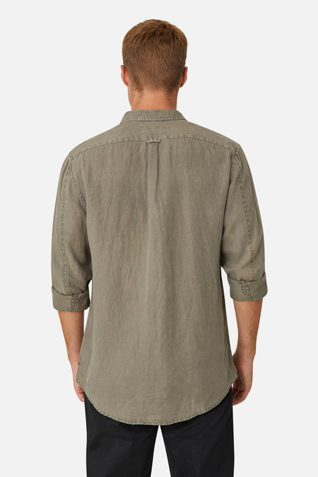 The Tennyson Linen L/S Shirt - Dark Forest