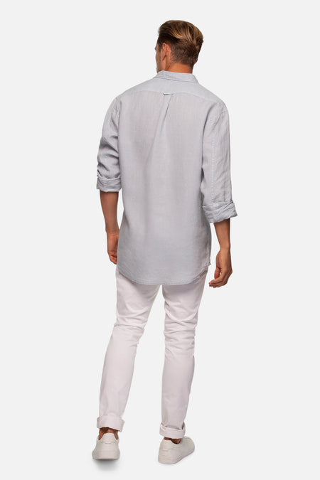 The Tennyson Linen L/S Shirt - Posh Grey