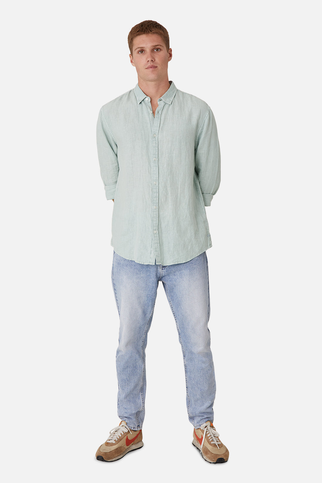 The Tennyson Linen L/S Shirt - Jade