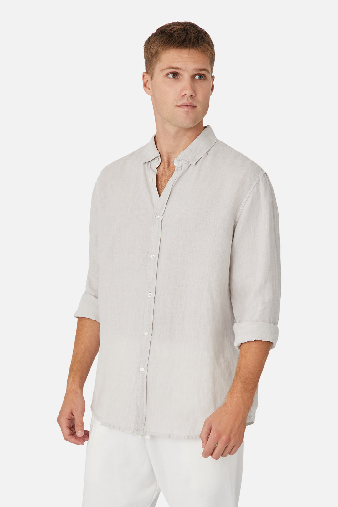 The Tennyson Linen L/S Shirt - Talc