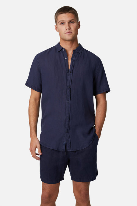 The Tennyson Linen S/S Shirt - Navy